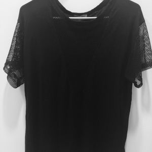 Black T-shirt with fishnet/mesh sleeves and V-cut
